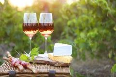 Dos vidrios de vino rosado con pan, carne, la uva y el queso Fotografía de archivo libre de regalías