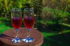 Dos vidrios de vino tinto en el fondo de la naturaleza fotos de archivo
