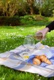 Dos vidrios de vino Una mano del ` s del hombre vierte el vino Comida campestre en un claro con las flores Primavera en los Paíse fotos de archivo