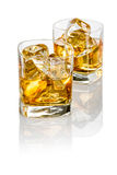 Dos vidrios de whisky Fotografía de archivo