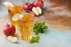 Dos vidrios de zumo de manzana rojo con la menta y el hielo en una tabla oxidada vieja Refresco en un fondo azul Con el espacio d Imagen de archivo