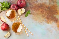 Dos vidrios de zumo de manzana rojo con la menta y el hielo en una tabla oxidada vieja Refresco en un fondo azul Visión superior  Fotografía de archivo libre de regalías