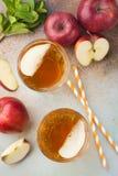 Dos vidrios de zumo de manzana rojo con la menta y el hielo en una tabla oxidada vieja Refresco en un fondo azul Visión superior Imagen de archivo libre de regalías