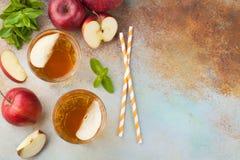 Dos vidrios de zumo de manzana rojo con la menta y el hielo en una tabla oxidada vieja Refresco en un fondo azul Visión superior  Imágenes de archivo libres de regalías
