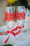 Dos vidrios decorativos del champán Foto de archivo