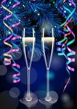 Dos vidrios del champán en fondo del Año Nuevo Imagen de archivo libre de regalías