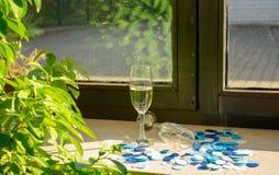 Dos vidrios del champán en la luz del sol fotografía de archivo