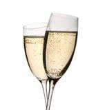 Dos vidrios del champán en tostada Imágenes de archivo libres de regalías
