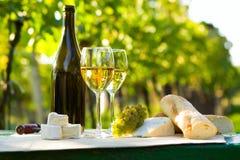 Dos vidrios del vino blanco y de la botella Fotos de archivo