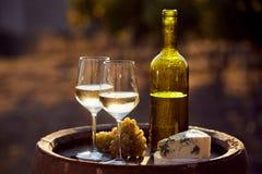 Dos vidrios del vino blanco y de la botella en la puesta del sol Fotografía de archivo libre de regalías