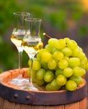 Dos vidrios del vino blanco y las uvas en el fondo de la uva reman Foto de archivo