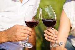 Dos vidrios del vino rojo, tema de la comida campestre Fotografía de archivo