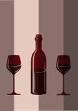 Dos vidrios del vino y de la botella stock de ilustración