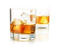 Dos vidrios del whisky Fotos de archivo libres de regalías