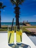 Dos vidrios en la tabla, mar, palma foto de archivo