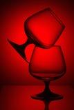 Dos vidrios en luz roja Fotografía de archivo libre de regalías