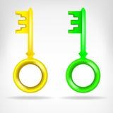 Dos viejo diseño del objeto 3D de las llaves Imagen de archivo libre de regalías