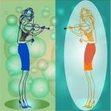 Dos violinistas stock de ilustración