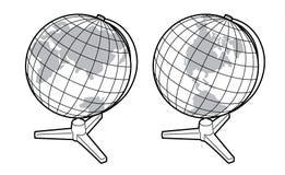 Dos vistas del globo de la tierra ilustración del vector
