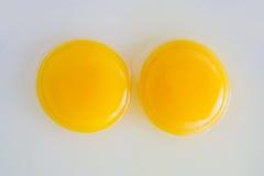Dos yemas de huevo crudas del pollo Foto de archivo libre de regalías