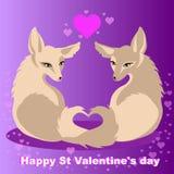 Dos zorros del vector en el amor para el día de tarjetas del día de San Valentín del St Imágenes de archivo libres de regalías