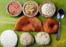 Dosa de Masala, de veille, vada, chutney, upma et sambar photos stock