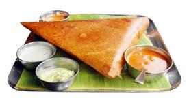 Dosa di Masala con varietà di chutney e di sambar fotografia stock