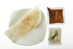 Dosa simple avec le chutney et le Sambhar image libre de droits