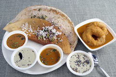 Dosa with Vada sambar chutney Royalty Free Stock Photos