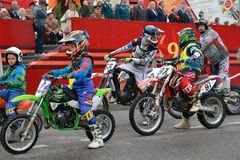 DOSAAF Motocross Sports Club in Pyatigorsk, Russia. Victory Day parade Royalty Free Stock Photos