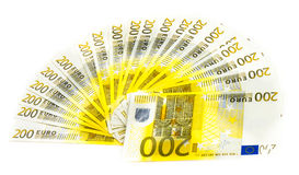 Doscientas cuentas euro aisladas en el fondo blanco banknotes imagen de archivo libre de regalías