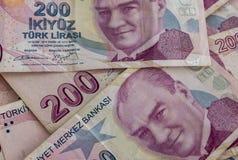 Doscientos billetes de banco de lira turca en la circulación fotos de archivo libres de regalías