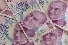 Doscientos billetes de banco de lira turca en la circulación imagen de archivo libre de regalías
