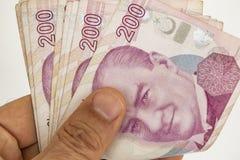 Doscientos billetes de banco de lira turca en la circulación imagen de archivo