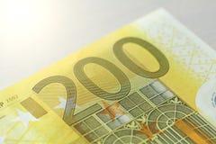 Doscientos euros Euro 200 con una nota Euro 200 Fotografía de archivo libre de regalías