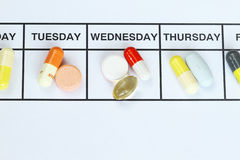 Daily Dose. The daily dose of medicine on a daily basis Stock Photos