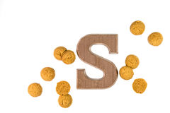 Dose of Pepernoten cookies with chocolate letter Stock Photography