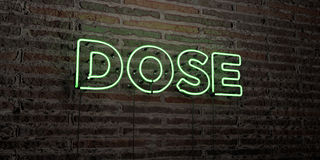 DOSE -Realistic Neon Sign on Brick Wall background - 3D rendered royalty free stock image Royalty Free Stock Image