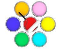 Dosen mit Farbfarben- und -rollenbürste Stockfotografie