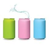 Dosen- und Wasserspritzenisolat der Farbe frisches Stockbilder
