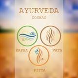 Doshas Ayurveda: vata, pitta, kapha Стоковое Изображение
