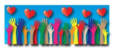 Dosięgać ręki wolności miłości różnorodność royalty ilustracja