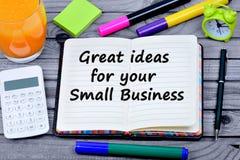 Doskonały pomysł dla twój małych biznesów słów Zdjęcia Royalty Free