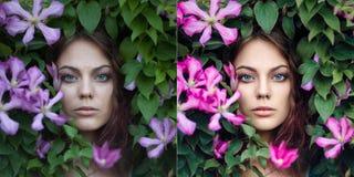Doskonale retuszujący - przed i po dziewczyna portretem zdjęcia royalty free