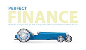 Doskonalić finansową ilustrację z błękitnym retro długim samochodem dla dostojników Zdjęcie Stock