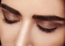 Doskonalić kształt brwi i tęsk rzęsy, brown eyeshadows Zbliżenie makro- strzał mod oczu dymiący oblicze zdjęcie stock