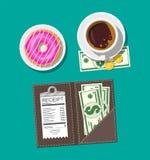 Dossier avec des pièces de monnaie d'argent liquide, chèque de banque Cuvette de café blanc Illustration Libre de Droits