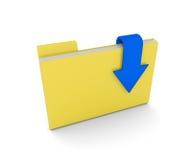 dossier 3d avec des documents et flèche de téléchargement au-dessus de blanc Photographie stock libre de droits