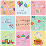Ensemble de Digitals de cartes d'anniversaire Photographie stock libre de droits
