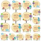 Conception florale ronde d'étiquettes Photographie stock libre de droits